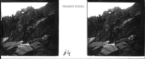 plaque de verre photographique ; Escalade un escarpement