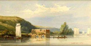 aquarelle ; Ruines du péage fortifié du Cul-du-Moulin, près de Champtoceaux (titre factice)(2005.1.1)